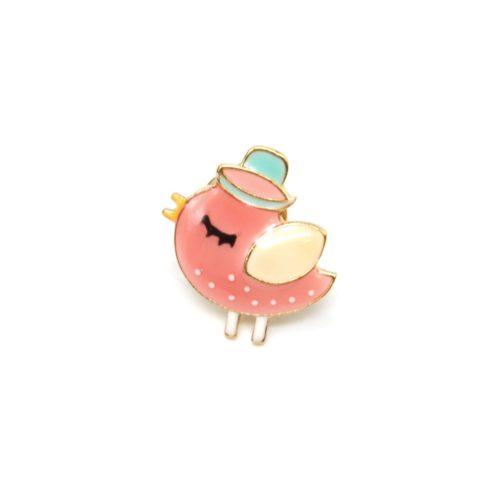 Mini-Broche-Pins-Oiseau-Email-Corail-Chapeau-et-Metal-Dore