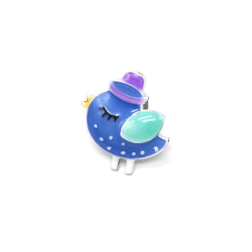 Mini-Broche-Pins-Oiseau-Email-Bleu-Chapeau-et-Metal-Argente