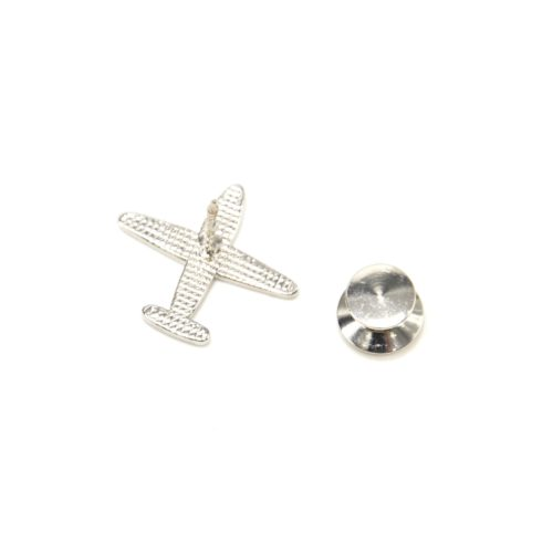 Mini-Broche-Pins-Avion-Email-Noir-Rayures-et-Metal-Argente