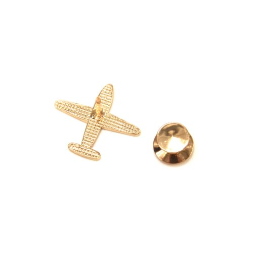 Mini-Broche-Pins-Avion-Email-Rouge-Rayures-et-Metal-Dore
