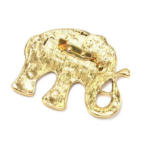 Broche-Elephant-Metal-Peint-Beige-avec-Fleurs-Motif-Paisley-et-Metal-Dore