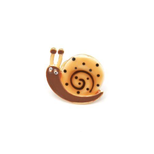 Mini-Broche-Pins-Escargot-Motif-Pois-Beige-Taupe-et-Metal-Dore