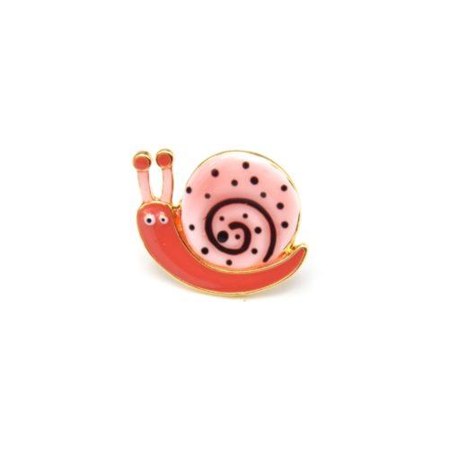 Mini-Broche-Pins-Escargot-Motif-Pois-Rose-Corail-et-Metal-Dore