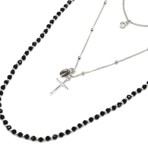 Collier-Multi-Rangs-Chaines-Metal-Argente-avec-Perles-Noires-Croix-et-Pierre