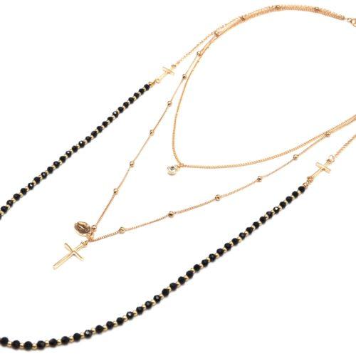Collier-Multi-Rangs-Chaines-Metal-Dore-avec-Perles-Noires-Croix-et-Pierre