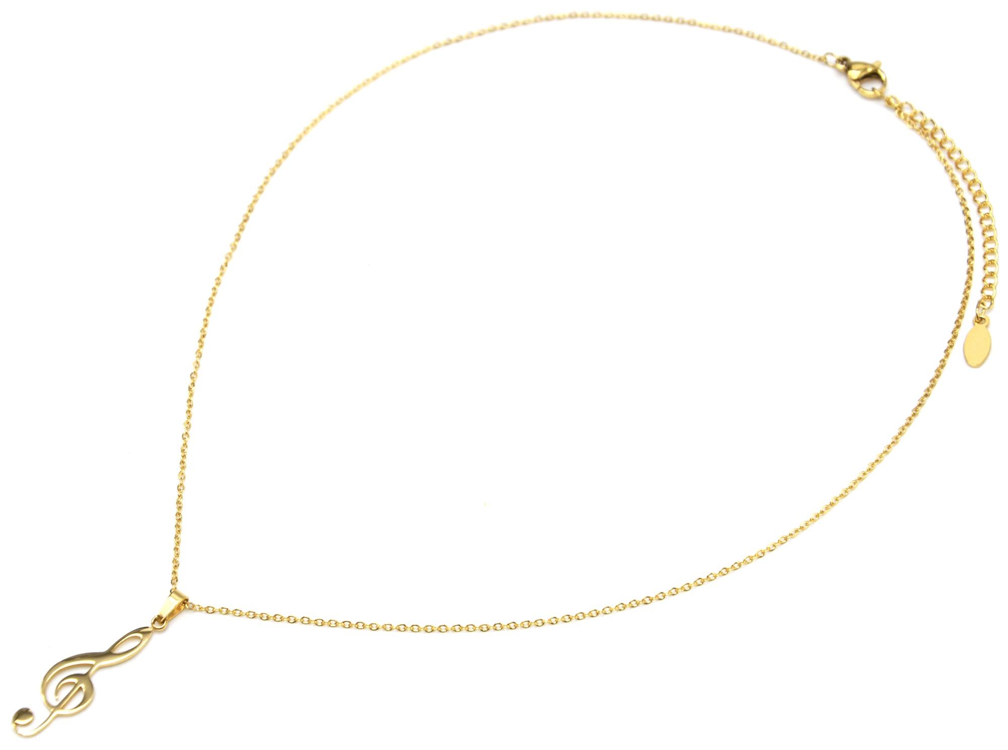 Collier Fine Chaîne avec Pendentif Clé de Sol Acier Doré CC2115D