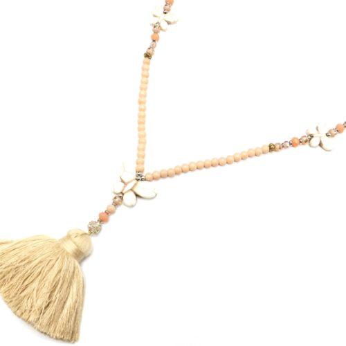 Sautoir-Collier-Mini-Perles-avec-Triple-Papillons-Pierres-Effet-Marbre-et-Pompon-Fils-Beige