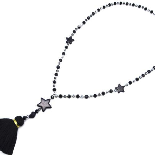Sautoir-Collier-Perles-Assorties-avec-Triple-Etoiles-Pierres-Effet-Marbre-et-Pompon-Fils-Noir