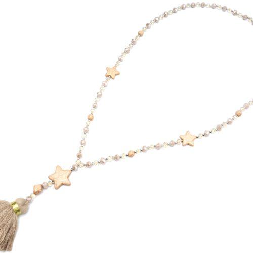 Sautoir-Collier-Perles-Assorties-avec-Triple-Etoiles-Pierres-Effet-Marbre-et-Pompon-Fils-Taupe