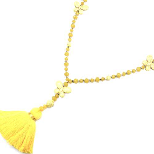Sautoir-Collier-Perles-Assorties-avec-Triple-Papillons-Pierres-Effet-Marbre-et-Pompon-Fils-Jaune