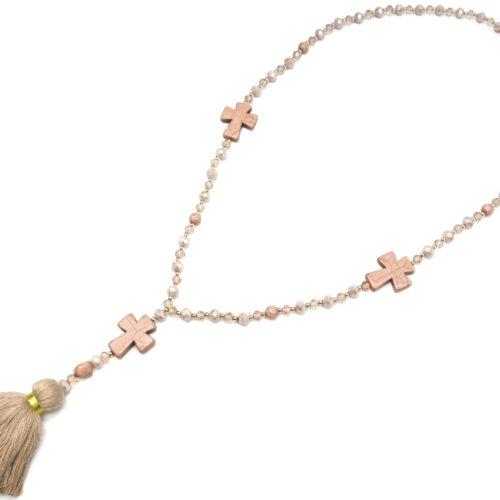 Sautoir-Collier-Perles-Assorties-avec-Triple-Croix-Pierres-Effet-Marbre-et-Pompon-Fils-Taupe