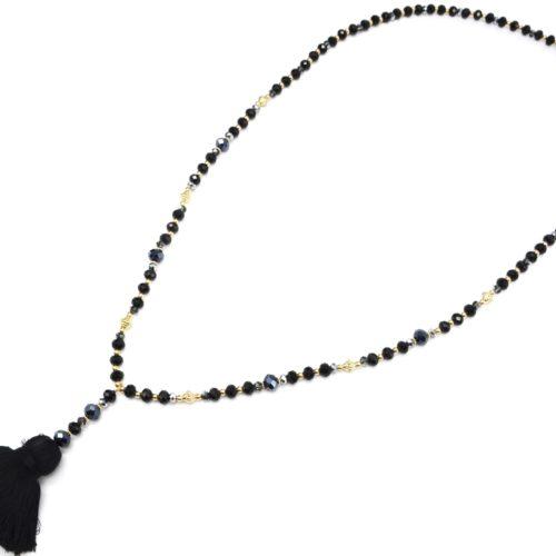 Sautoir-Collier-Perles-Brillantes-Noir-Dore-avec-Pendentif-Y-Petit-Pompon-Fils