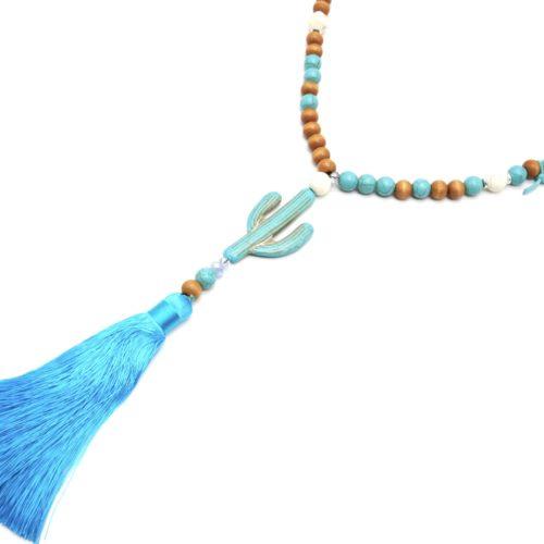 Sautoir-Collier-Perles-Bois-et-Effet-Marbre-Turquoise-avec-Pierre-Cactus-et-Pompon-Fils-Bleu