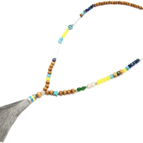 Sautoir-Collier-Perles-Bois-et-Assorties-Multicolore-avec-Pompon-Gris