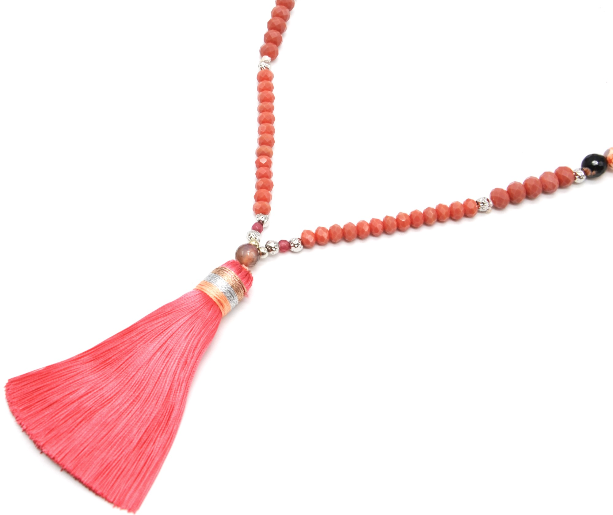 Sautoir Collier Perles Brillantes avec Pendentif Pompon Fils Rose CL1925F
