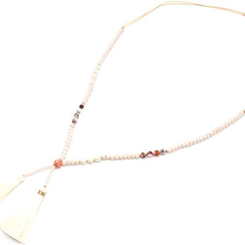 Sautoir-Collier-Cordons-Perles-Brillantes-avec-Perles-Eau-Douce-et-Pompons-Beige