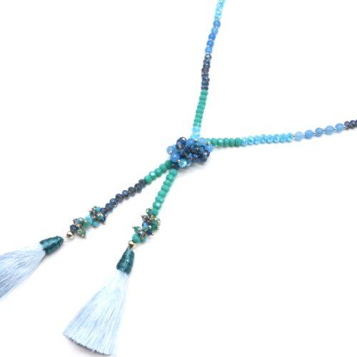 Sautoir-Collier-Mini-Perles-Brillantes-avec-Perles-Eau-Douce-et-Pompons-Bleu