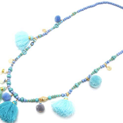 Sautoir-Collier-Perles-Bois-Pierres-avec-Multi-Pompons-Boule-et-Fils-Bleu