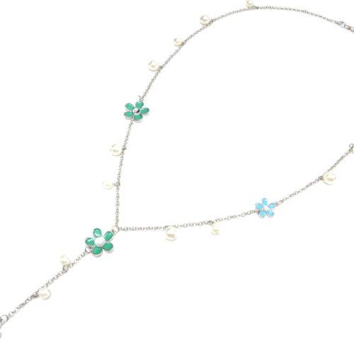 Sautoir-Collier-Y-Chaine-Metal-Argente-avec-Multi-Fleurs-Vert-Bleu-et-Perles-Ecru