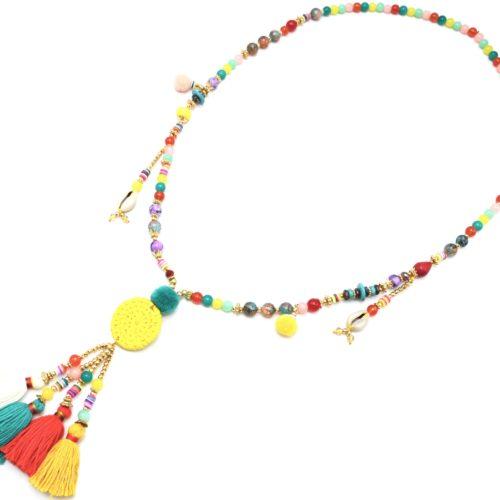 Sautoir-Collier-Perles-Verre-et-Effet-Marbre-avec-Cercle-Osier-et-Pompons-Multicolore