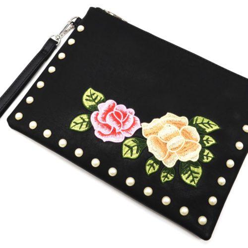 Pochette-Sac-Moyen-Bandouliere-Simili-Cuir-Noir-avec-Broderies-Fleurs-et-Perles