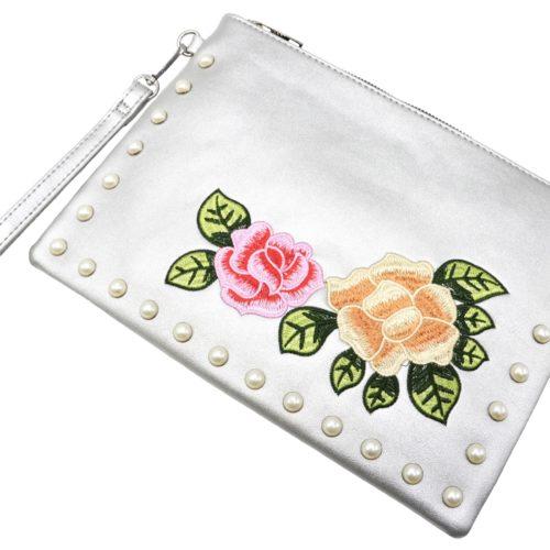 Pochette-Sac-Moyen-Bandouliere-Simili-Cuir-Argente-avec-Broderies-Fleurs-et-Perles
