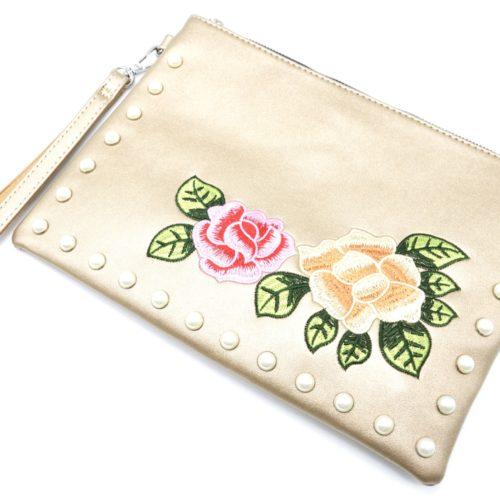 Pochette-Sac-Moyen-Bandouliere-Simili-Cuir-Dore-avec-Broderies-Fleurs-et-Perles