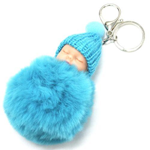 Porte-Cles-Bijou-de-Sac-Bebe-Endormi-avec-Bonnet-et-Pompon-Fourrure-Bleu-Turquoise