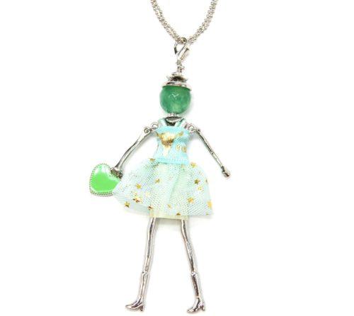 Sautoir-Collier-Pendentif-Poupee-Articulee-Robe-Tulle-Vert-Mint-Motif-Etoiles-avec-Coeur