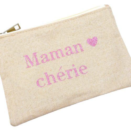 Trousse-Maquillage-Pochette-Tissu-Beige-Message-Maman-Cherie-Paillettes