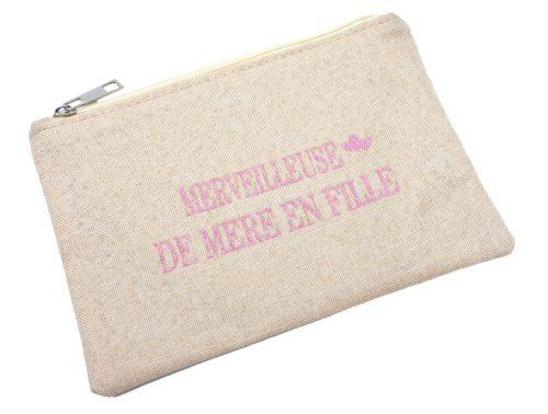 Trousse-Pochette-Tissu-Beige-Message-Merveilleuse-de-Mere-en-Fille-Paillettes