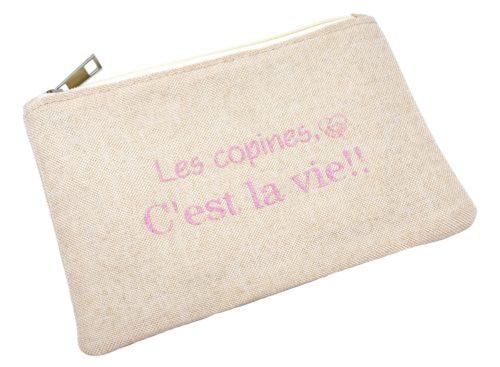 Trousse-Maquillage-Pochette-Tissu-Beige-Message-Les-Copines-C-est-La-Vie-Paillettes