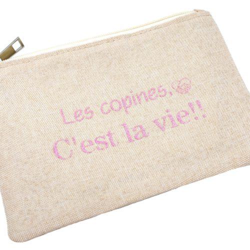 Trousse-Pochette-Tissu-Beige-Message-Les-Copines-C-est-La-Vie-Paillettes