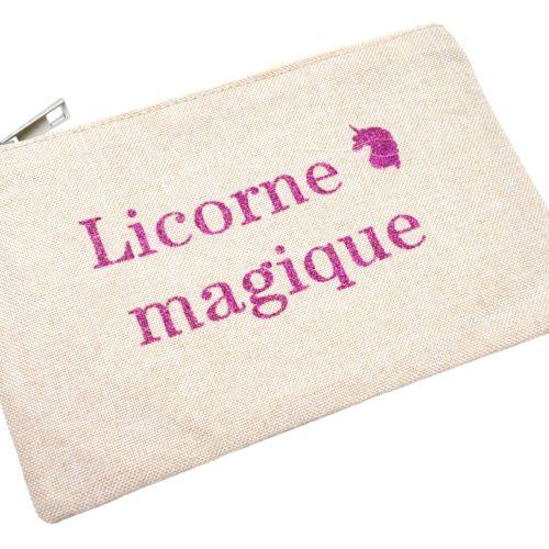 Trousse-Pochette-Tissu-Beige-Message-Licorne-Magique-Paillettes