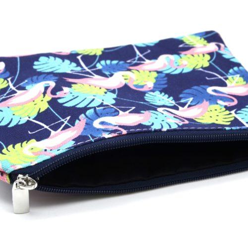 Trousse-Pochette-Tissu-Imprime-Flamant-Rose-et-Feuilles-Bleu