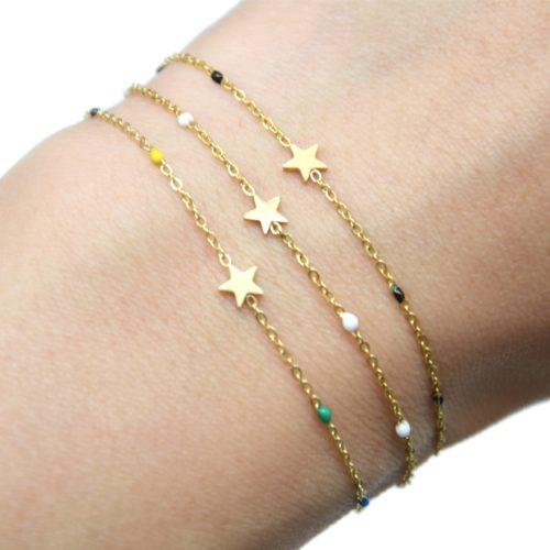 Bracelet-Fine-Chaine-Mini-Perles-Email-avec-Etoile-Acier-Dore
