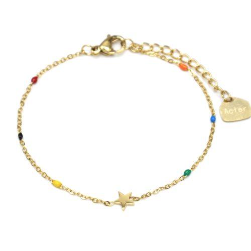 Bracelet-Fine-Chaine-Mini-Perles-Email-Multicolore-avec-Etoile-Acier-Dore