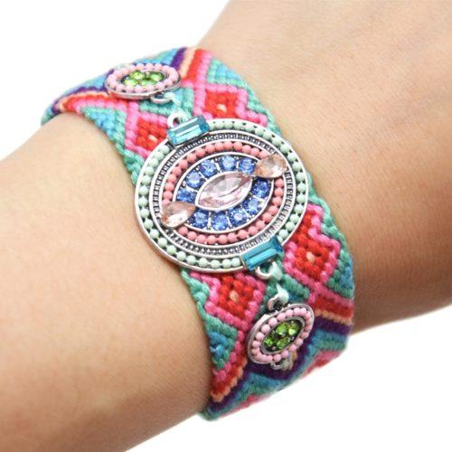 Bracelet-Manchette-Bresilien-Fils-Tresses-avec-Ovale-Pierres-Perles-Multicolore