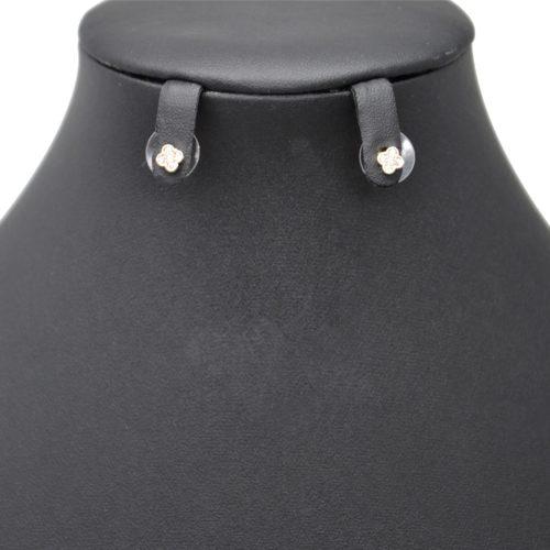 Boucles-dOreilles-Balancier-Mini-Trefle-Strass-Zirconium-Or-Rose-et-Perles-Blanches