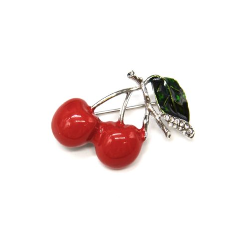 Broche-Epingle-Cerises-Metal-Peint-Rouge-et-Tiges-Metal-Strass-Argente