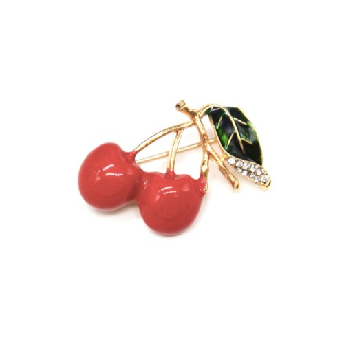 Broche-Epingle-Cerises-Metal-Peint-Rouge-et-Tiges-Metal-Strass-Dore