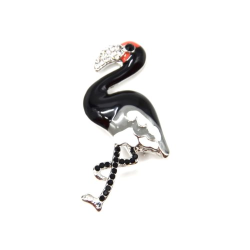 Broche-Epingle-Flamant-Rose-Metal-Peint-Noir-et-Strass-Noir-Argente