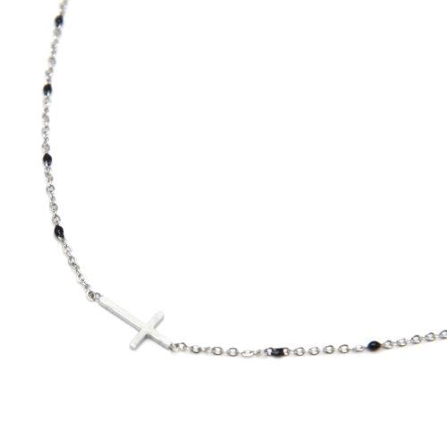 Collier-Fine-Chaine-Mini-Perles-Email-Noir-et-Croix-Acier-Argente