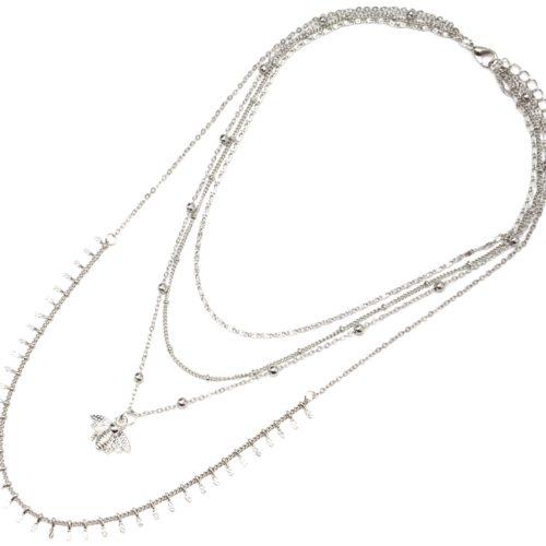 Collier-Multi-Rangs-Chaines-Metal-Argente-avec-Abeille-et-Boules