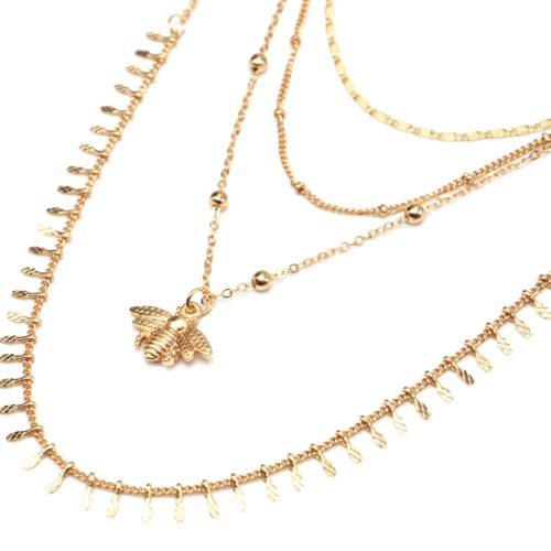 Collier-Multi-Rangs-Chaines-Metal-Dore-avec-Abeille-et-Boules