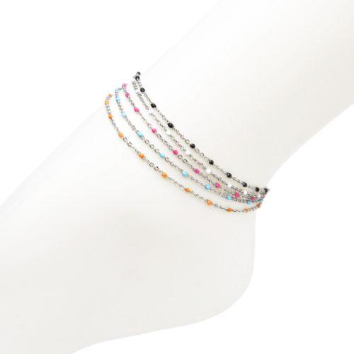 Fine-Chaine-Cheville-Acier-Argente-avec-Mini-Perles-Colorees
