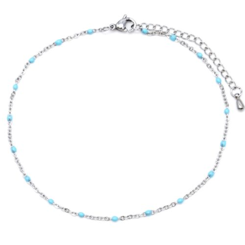 Fine-Chaine-Cheville-Acier-Argente-avec-Mini-Perles-Bleues