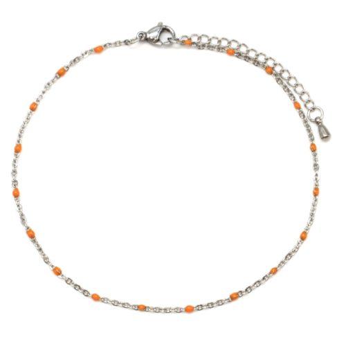 Fine-Chaine-Cheville-Acier-Argente-avec-Mini-Perles-Oranges
