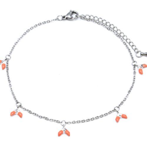 Fine-Chaine-Cheville-Acier-Argente-avec-Charms-Epis-Oranges