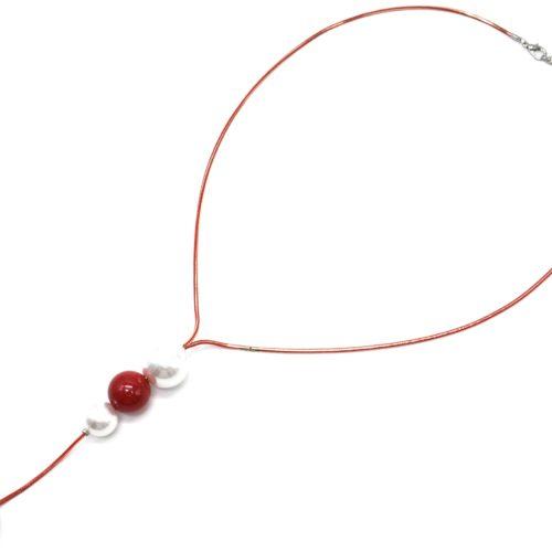 Sautoir-Collier-Chaine-Serpent-Metal-avec-Pendentif-Y-Perles-Ecru-et-Boules-Rouge/Gris